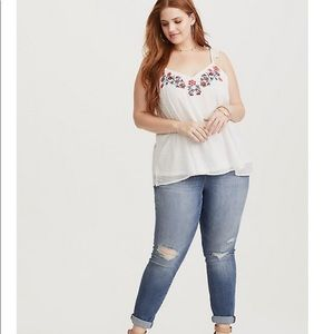 Torrid ivory embroidered clip dot cami